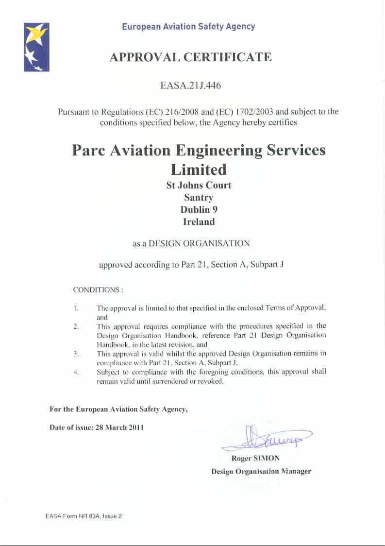 CAE Parc Aviation EASA certificate