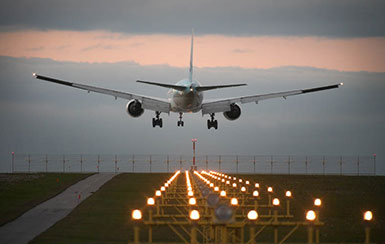 Airplane landing safely after long journey