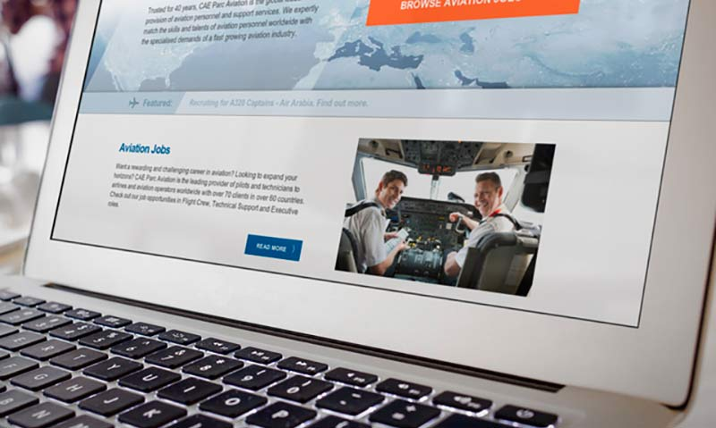 Laptop showing the new CAE Parc Aviation website