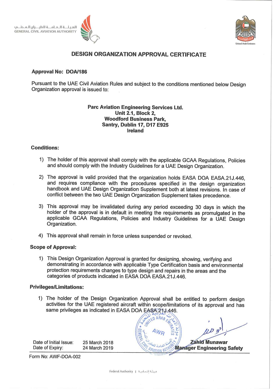 Gcaa Approval Cae Parc Aviation